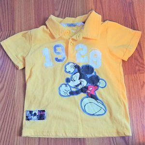 24m 2 2t 24 Yellow Polo shirt Boy top Mickey Mouse